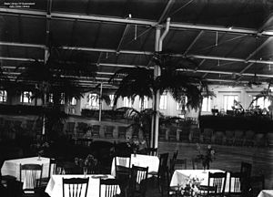 StateLibQld 1 73649 Tables and chairs set up in the woolstore at New Farm, Brisbane, for the Vice-regal ball held in honour of the visiting Duke and Duchess of York, 1927.jpg