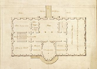 State Dining Room of the White House - White House State Floor plan, 1803.