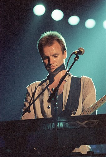 "Sting (pictured in May 1986) recorded ""Every Bomb You Make"" for the show Sting Paris-Bercy May 3 1986-a.jpg"