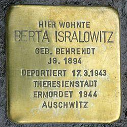 Photo of Berta Isralowitz brass plaque