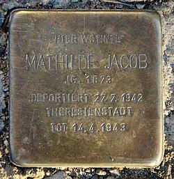 Photo of Mathilde Mathel Jacob brass plaque