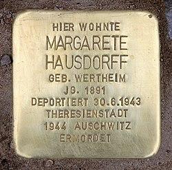 Stolperstein nassauische str 24 (wilmd) margarete hausdorff