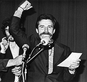 Lech Wałęsa - Wałęsa during the strike at the Lenin Shipyard, August 1980