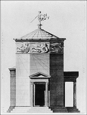 Classical compass winds - The Tower of the Winds in Athens, as reimagined in 1762