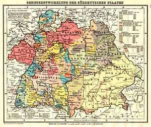Zollverein - Map of the south German states and province of Hohenzollern. At the turn of the 19th century, this group of territories was transformed into three larger powers: Baden, Württemberg and Bavaria.