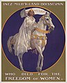 Suffrage poster depicting Inez Milholland Boissevain dressed in white, riding a white horse, as she did for the March 3, 1913 suffrage parade in Washington, D.C. (9558521588).jpg