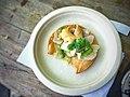 Surf Clam and sea urchin crudo tostada with jalapeno, cilantro, apple, & lime.jpg