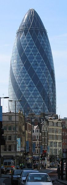 The Gherkin or The Swiss Re HQ Tower, 30 St Mary Axe London. Photo by Wikipedia.