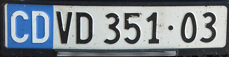 Datei:Switzerland CD Diplomatic license plate VD 351•03.jpg
