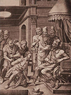 Syagrius - The captured Syagrius is brought before Alaric II who orders him sent to Clovis I