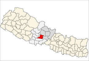 Syangja District i Gandaki Zone (grå) i Western Development Region (grå + lysegrå)