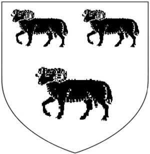 Combe Sydenham - Arms of Sydenham: Argent, three rams passant guardant sable
