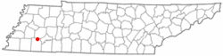 Location of Toone, Tennessee