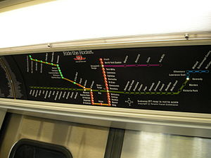 Toronto Transit Commission accessibility - Sample active route map on display with the interior mockup of the new Toronto Rocket subway car