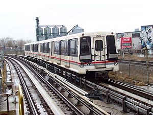 Toronto subway - A Line 3 Scarborough car leaving Lawrence East station