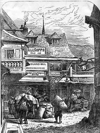 Inn - The Tabard Inn, Southwark, London, around 1850