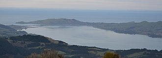 Taiaroa Head - Otago Harbour and the north-east tip of the Otago Peninsula as seen from Buttar's Peak, near Mount Cargill.
