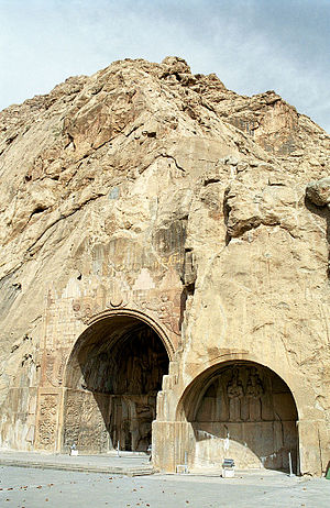 Grotto - Two vaulted grottoes called Taq-e Bostan, located in Iran, Sassanian era.