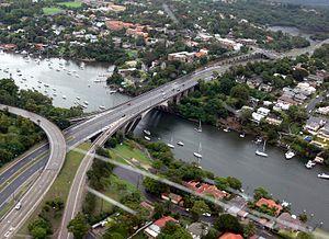 Tarban Creek Bridge - An aerial view of the Tarban Creek Bridge and associated roadway.