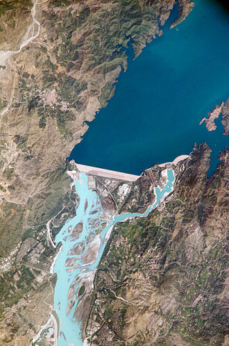 Embankment dam - Tarbela Dam in Pakistan. It is the largest earth-filled dam in the world.
