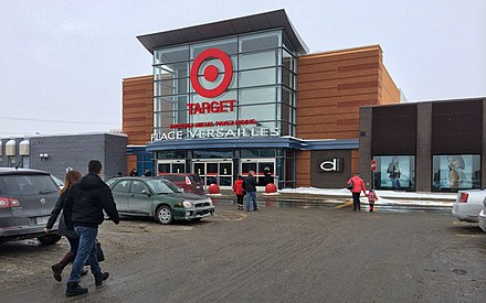 Target store in Montreal, Canada in 2015, originally Miracle Mart/M and later Zellers. This location is now a Canadian Tire. Target Rue Sherbrooke Est Montreal, QC 1 (16553386417).jpg