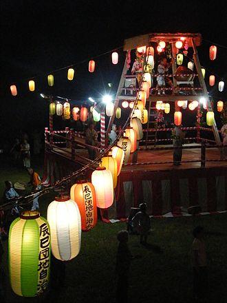 Tatsumi, Tokyo - The yagura at the Summer Festival at Tatsumi on July 31, 2015.