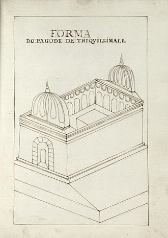 Sinhalese–Portuguese War - Portuguese drawing of the Koneswaram temple