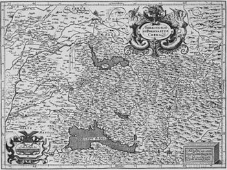 Beretta - 16th Century map by Giovanni Antonio Magini of the Province of Brescia. Val Trompia is in the center. Map is oriented with West at the top.