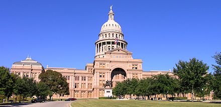 The Texas State Capitol Texas State Capitol building-front left front oblique view.JPG