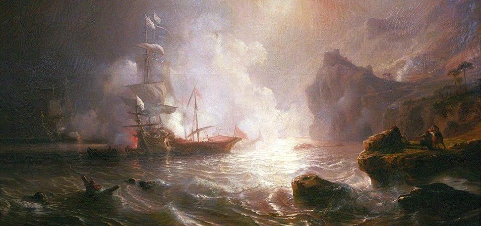 Théodore Gudin-Combat d'un vaisseau français et de deux galères barbaresques mg 5061