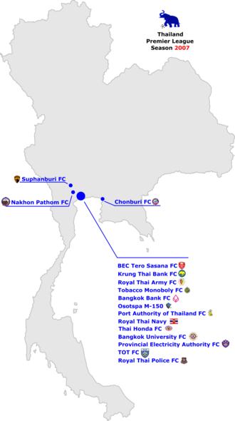 2007 Thailand Premier League - Thai Premier League locations