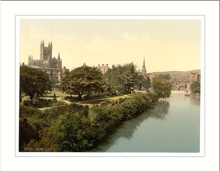 File:The Abbey from the bridge Bath England.jpg