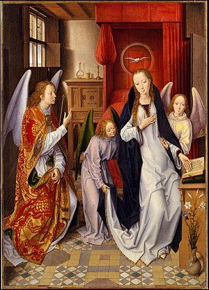 Annunciation (Memling) - The Annunciation, 76.5 × 54.6 cm (30 1/8 × 21 1/2 in.), Hans Memling, c. 1480s, Metropolitan Museum of Art, New York