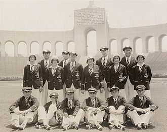 Australia at the Olympics - Australian Olympic athletes in 1932 wearing the traditional uniform of a dark green blazer trimmed with yellow, still in use at the London 2012 opening ceremony.