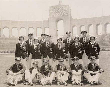 The Australian Olympic Team at the Olympic Stadium, Los Angeles, 1932 The Australian Olympic Team at the Olympic Stadium, Los Angeles, 1932 - photographer unknown.jpg