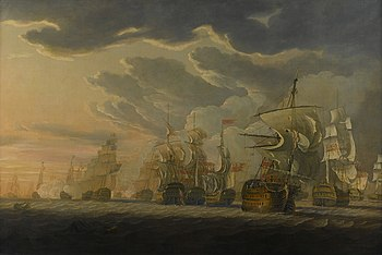 Naval Battle at Cape St. Vincent, painted by Robert Cleveley in 1798