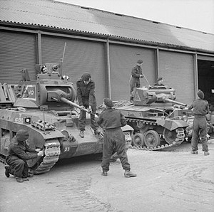 23rd Armoured Brigade (United Kingdom) - A Matilda tank and a Valentine of the 40th (The King's) Royal Tank Regiment being 'bulled up' at Crowborough in Sussex for a 'Speed the Tanks' parade in London, 28 July 1941.