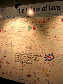 Attendees at the 2004 JavaOne conference described their vision of the future of Java on a whiteboard.