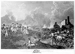 Black and white print shows a busy scene filled with mounted officers, soldiers, gunners and teamsters. In the background there is a city being bombarded with lots of smoke.