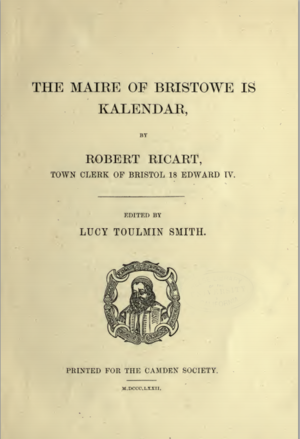 The Maire of Bristowe is Kalendar - Frontispiece of 1872 reprint of The Maire of Bristowe is Kalendar by the Camden Society