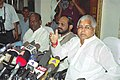 The Minister of Railways Shri Lalu Prasad briefing the Press on the conclusion of General Managers' Meeting in New Delhi on June 14, 2005.jpg