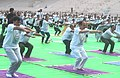 The Minister of State for Road Transport & Highways, Shipping and Chemicals & Fertilizers, Shri Mansukh L. Mandaviya performing Yoga, on the occasion of the 4th International Day of Yoga 2018, in Hyderabad, Telangana (2).JPG