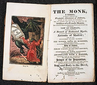 Maria de Rudenz - The Monk, A Romance, by Matthew Lewis, a first edition of the book in the British Museum