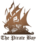 "The Pirate Bay logo – drawing of a 3-masted sailing ship with ""Home Taping Is Killing Music"" cassette & crossbones."