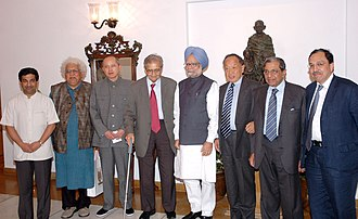 Nalanda University - The Prime Minister, Dr. Manmohan Singh with the members of Nalanda Mentor Group led by Prof. Amartya Sen. New Delhi, 2008