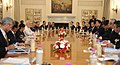 The Prime Minister, Shri Narendra Modi and the Prime Minister of Japan, Mr. Shinzo Abe at the delegation level talks between India and Japan, at Hyderabad House, in New Delhi on December 12, 2015.jpg