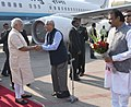 The Prime Minister, Shri Narendra Modi being received by the Governor of Gujarat and Madhya Pradesh, Shri O.P. Kohli, on his arrival, at Sardar Vallabhbhai Patel International Airport, in Ahmedabad, Gujarat.jpg