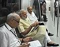 The Prime Minister, Shri Narendra Modi travelling by the Delhi Metro to the inauguration ceremony of Badarpur-Faridabad Metro Line, at Faridabad on September 06, 2015 (1).jpg
