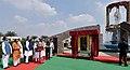 The Prime Minister, Shri Narendra Modi unveils the statue of Pt. Deendayal Upadhyay, at Naya Raipur, Chhattisgarh.jpg