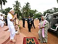 The Prime Minister, Shri Narendra Modi welcomes the Prime Minister of Bangladesh, Ms. Sheikh Hasina, on her arrival, at Santi Niketan, in West Bengal on May 25, 2018.JPG